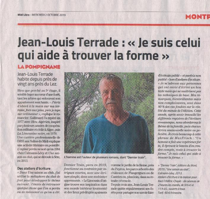 Portrait de Jean-Louis Terrade paru dans le quotidien Midi Libre